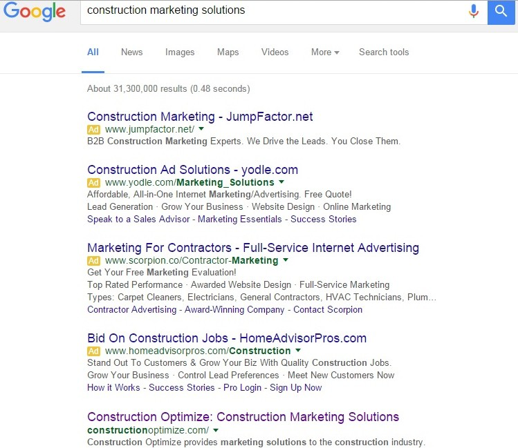Google Construction Marketing Solutions Search